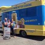 three NZEI members with van at Damien O'Connors office
